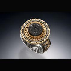 Ring, 22k,18k, oxidized silver, black druzy quartz