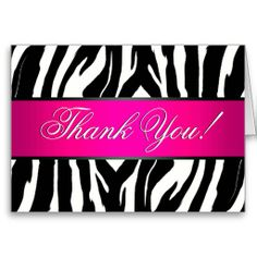 Pink and zebra templates free elegant zebra print custom place hot pink zebra thank you card reheart Images