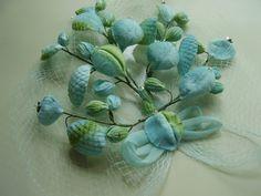 Vintage 1950's Aqua Blue Leaves Buds Rhinestones by TheLastPixie, $22.50