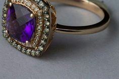 EFFY 14K Amethyst ring w/ white & cocoa diamonds in a rose gold setting