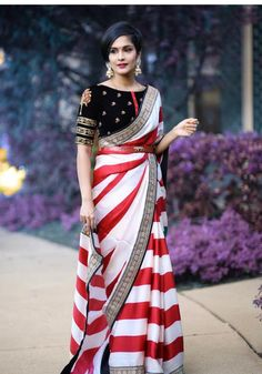 Printed georgette saree, red saree, white saree, embroidery lace n coding work saree,saree for women