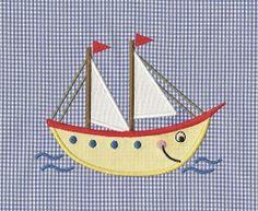 Happy Ship Applique - 2 Sizes!   Beach/Ocean   Machine Embroidery Designs   SWAKembroidery.com Applique for Kids