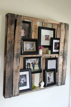Very cool idea for an old skid.  Reclaimed wood picture frame.  Love it!
