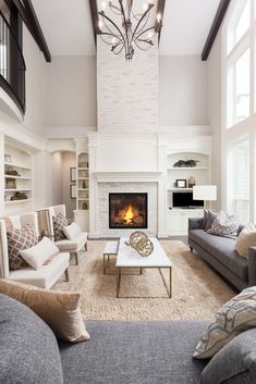 White Living Room Decor How do you decorate a living room? 2 White Living Room Decor What a minimalist house looks like? Living Room With Fireplace, My Living Room, Living Room Interior, Living Room Decor, Dining Room, Two Story Fireplace, High Ceiling Living Room, Cozy Living, Formal Living Rooms