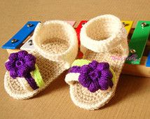 Cream crochet baby sandals, handmade crocheted girl shoes purple and green with flower for spring and summer