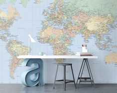 Back to school Find fun, educational and inspiring wall murals for your kids room. World Map Wallpaper, Kids Room Wallpaper, Girl Wallpaper, Fabric Wallpaper, Photo Wallpaper, Kids Wall Murals, Murals For Kids, Bedroom Murals, Wall Maps