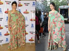 I had a saree like this 14years ago! Love the #saree #floralprints #deepikapadukone