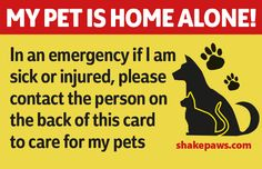 Shake Paws' 'Home Alone' pet safety card is available as a free download. Just head to our home page and click on 'Free Downloads'. Cut it out and pop it in your purse or wallet.