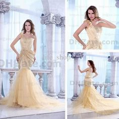 Real Actual Image Gold Prom Dresses One Shoulder Satin Tulle Petal Chapel Train Mermaid Dresses, $160.21 | DHgate.com