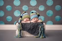Super cute hats for twin babies first pictures! This listing is for two elf hats in Aqua, Lime, Black, and Grey. One hat has aqua closest to the face