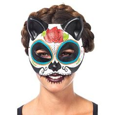 On sale Sugar Skull Cat Mask Costume Halloween Stylish Cute Half Face Cover Womens for  Halloween Gifts Idea Promotion for  #Halloween Gifts Idea Deal