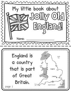 Jolly Old England Booklet (a country study!)-- Use during social studies units about countries around the world! TeachersPayTeachers