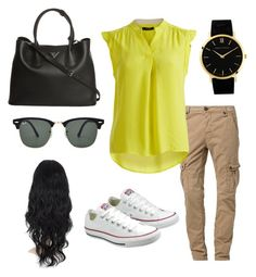 """""""Cute"""" by urbanbella on Polyvore featuring Japan Rags, VILA, Converse, Prada, Ray-Ban and Larsson & Jennings"""