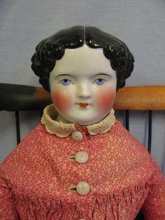"23"" Pretty Early CHINA Head doll c1860 All-Original Cloth Body, Clothing,Shoes"