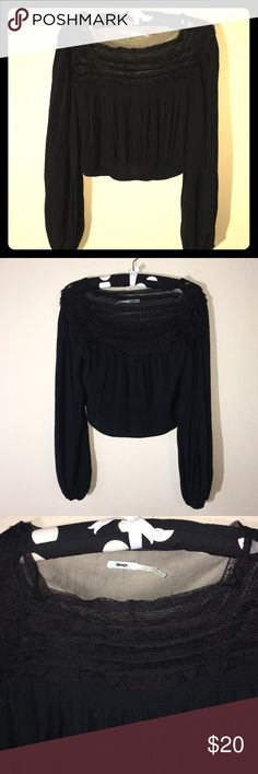 Kimchi Blue black crop top sz S Kimchi Blue black crop top long sleeve with lace. Great condition! Kimchi Blue Tops Crop Tops