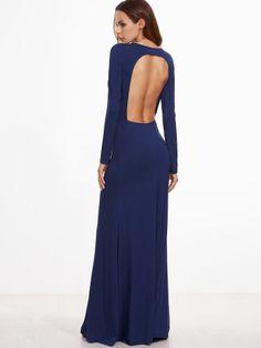 Navy Open Back Long Sleeve Maxi Dress
