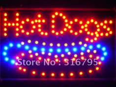 led084-r Hot Dogs Cafe Led Neon Sign WhiteBoard Wholesale Dropshipping