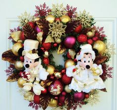 Victorian Mickey and Minnie Wreath by SparkleForYourCastle on Etsy