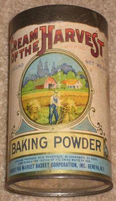 Cream of the Harvest Baking Powder Vintage Baking, Vintage Kitchen, Letter Fonts, Spice Tins, Old Country Stores, Vintage Fans, Vintage Packaging, Pineapple Upside, Market Baskets