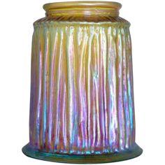 American Tiffany Studios Favrile Fabric Gold Iridescent Art Glass Lamp Shade
