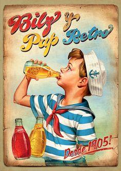 Bilz y Pap Retro by Cristian Kemp, via Behance Vintage Labels, Vintage Signs, Vintage Ads, Vintage Images, Vintage Advertising Posters, Old Advertisements, Vintage Travel Posters, Photo Deco, Retro Ads