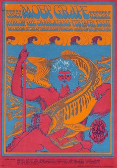 1966 Concert Poster for Moby Grape at San Francisco's Avalon Ballroom, with The Charlatans