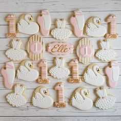 """106 Likes, 13 Comments - Jessica Edwards (@jessievirginia) on Instagram: """"I really love the Swan Lake/Swan Princess theme for a 1st birthday! The pretty cookies are always…"""""""