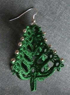 Tattyhead: Christmas Tree Earrings - 3 dimensional