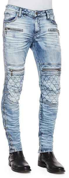I like these! No wonder - Neiman Marcus - $655 - ! Robin's Jean Quilted-Knee Washed Moto Jeans, Light Blue