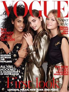 Imaan Hammam, Taylor Hill and Anna Ewers by Patrick Demarchelier for Vogue UK February  2017 cover -  Dressed in Saint Laurent by Anthony Vaccarello