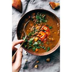 Winter Detox Moroccan Sweet Potato Lentil Soup Recipe | Little Spice... ❤ liked on Polyvore featuring home, kitchen & dining, cookbooks, recipes crock pot, recipe cookbook and recipes slow cooker