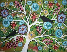 Rug Hooking Paper Pattern Tree of Life Folk Art Abstract Primitive Karla G | eBay