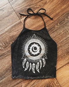 Dream Catcher Halter Crop Top | 90s Vibes, Festival Fashion, Acid Wash Top, Halter Top, Festival Top