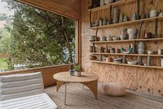 How a Ceramist Transformed a Los Angeles Treehouse. September Here an excerpt: A rickety bridge with bungee-cord cables is the only way to access the ceramist 's , a fir-clad structure shrouded by a Brazilian pepper tree at the base of Los Angeles's Mo Steep Backyard, Plywood Shelves, Shelf Supports, Low Tables, Los Angeles Homes, Ceramic Studio, Back Patio, In Ground Pools, Ranch Style