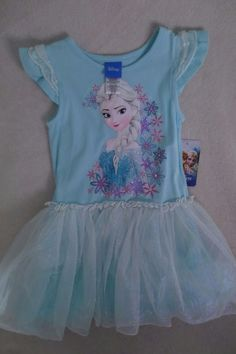 Disney Girl Frozen  Dress Size 3T Short Sleeves Sparking Blue New  #Disney #TutuDress #CasualParty