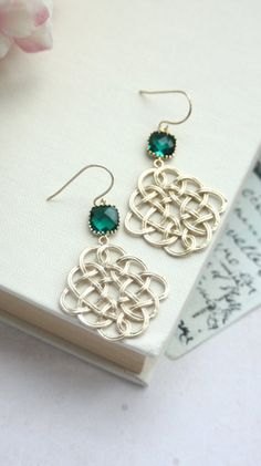 Gorgeous glass drop earrings by Marolsha