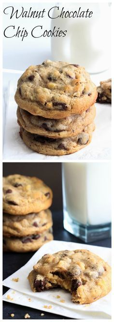 Super soft and rich chocolate chip cookies with toasted walnuts.