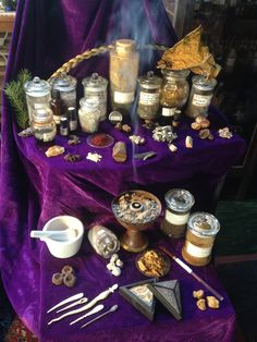 A small selection of natural materials used as incense ingredients and some tools.