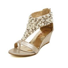 Women's Shoes Wedge Heel Wedge Sandals Shoes Accented With Pearl (More Colors) | LightInTheBox