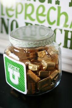 """A St. Patrick's Day series wouldn't be complete without a pot of gold! (image via eighteen 25 ) I love this """"pot of gold"""" so much I'm cop. St Pattys, St Patricks Day, Saint Patricks, Glass Candy Jars, Gold Candy, St Patrick's Day Crafts, Hershey Chocolate, St Paddys Day, Saint Patrick"""