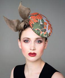 Fashion hat Green and Orange 'Stella' Headpiece