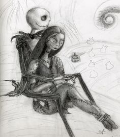 """Jack and Sally by ~Aliquis01L on deviantART.  This kinda reminds me of the cover for """"Dear John."""" Cute."""