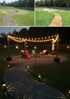 15. Adorn the fire pit seating area and light them up when the evening rolls in.