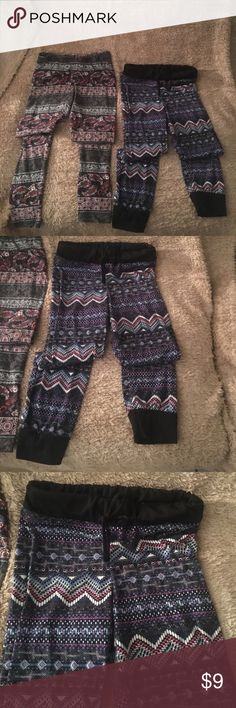 Girls pants lot - 2 pair (sz. 6/7) Girls leggings lot - 2 pair (sz. 6/7) - multi-colored.  One harem style, other straight leggings.  Both in good used condition.  Buy 2 and save !! Bottoms Leggings