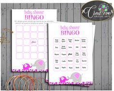 Pink Mammoth Elephant Trunk Baby Bingo Amusement BINGO60 CARDS GAME, Baby Shower Idea, Party Decorations, Shower Activity - ep001 #babyshowerparty #babyshowerinvites