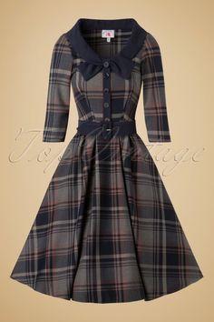 Miss Candyfloss Navy Tartan Swing Dress