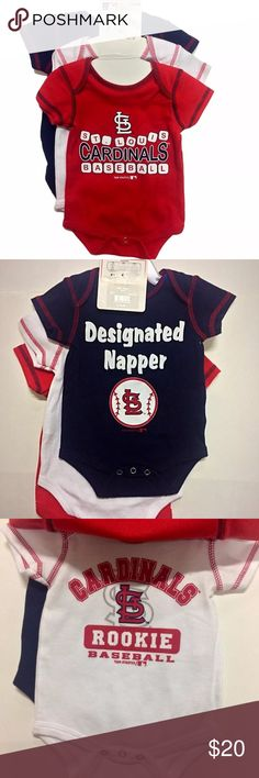 "St Louis Cardinals MLB 3 Pack Bodysuits 0-3M NWT Set includes 3 button-up onesies! Adorable sayings like ""Designated Napper""   Brand: MLB Genuine Merchandise by Team Athletics Color: Blue, White & Red Size: Baby 0-3 Months New With Tags: Yes Materials: 100% Cotton Number of Items: 3 MLB One Pieces Bodysuits"