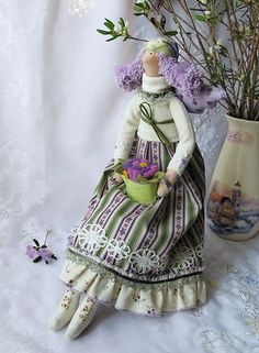 Куклы Тильды ручной работы. Ярмарка Мастеров - ручная работа Тильда Берта дачница. Handmade.