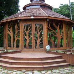Beautiful wooden gazebo.