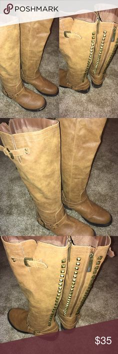 Tan Knee-High Boots Size 9 👢 NWOT  👢 NWOT. Super cute knee high boots with studded design around zipper. These will go with almost anything! Shoes Heeled Boots